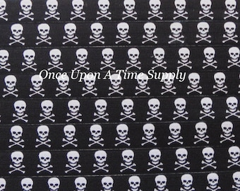 Black Skull and Crossbones Print Fold Over Elastic for Baby Headbands 5 Yards of 5/8 inch FOE Elastic By The Yard Hair Tie Makng Craft Suppy