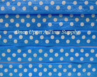 Royal Blue and White Polka Dot Print Fold Over Elastic for Baby Headbands - 5 Yards of 5/8 inch FOE - Printed Elastic By The Yard