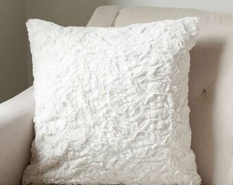 Faux Fur Throw Pillow Cover | Ivory Cushion Cover | Accent Pillow | Sofa Cushion {Faux Fur Cushion Cover}