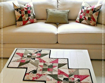 Quilt Pattern Table Runner PDF Quilted Star Summer Fall French Country Patriotic Valentine Wall Hanging Download