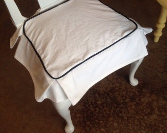 Custom Chair Cover with Piping and Corner Box Pleats - choose your own size and fabric