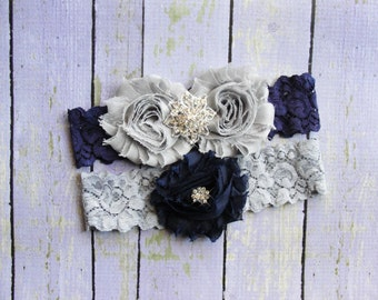 Navy Gray Wedding Garter, Garter Set, Bridal Garter, Keepsake Garter, Toss Garter, Blue Garter, Grey Garter, Wedding Garter Belt
