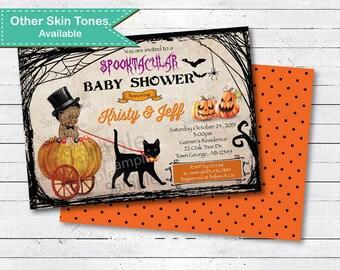 Halloween baby shower invitation. Vintage rustic gothic couple baby shower digital printable invite. Pumpkin baby boy shower. HA020