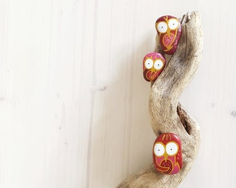 Woodland Rustic Friendship Owl Pins set of 3