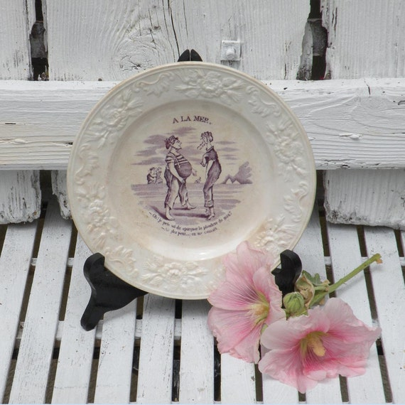 French antique violet talking plate, French vintage plate, vintage wall plate, comical plate, violet transferware, country home cottage chic