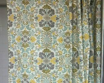 Shower Curtain, Designer Shower Curtain, Long Shower Curtain, Waverly Folk Damask Bliss