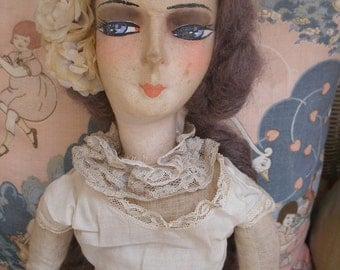 1920s vintage boudoir doll, in petticoat, camisole & bloomers