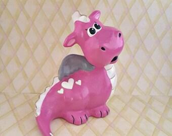 Pretty Pink Heart Love Baby Dragon Figurine, Perfect for Fairy Tale Nursery or Decor
