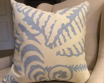 QUADRILLE Alan Campbell Pillow Cover in Seafoam Ferns Uni Design