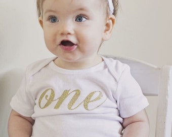 One 1 Onesie First Birthday Shirt Outfit Gold Sparkle