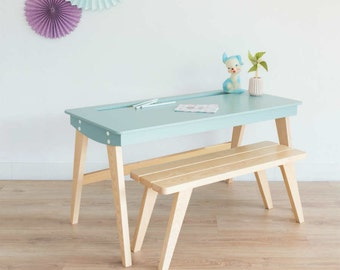 Desk, Kids desk, school desk, desk and bench, Scandinavian, wood, ice blue, mid century modern, Leopold model