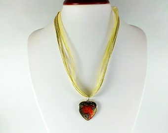 Heart pendant Heart necklace Hand painted pendant necklace Heart jewelry Resin necklace Red heart necklace Love jewelry Love pendant