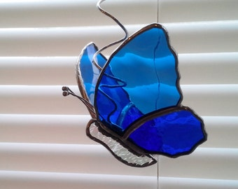 Stained Glass Butterfly-Sun Catcher on Coiled Hanger- Blues