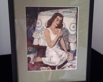 Framed 1940's - 1950's Girlie Magazine Picture of Girl/Retro