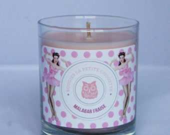 Candle scent strawberry, Malabar, soy wax, 200g