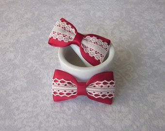 Scarlet Red Satin & Off-White Ivory Lace Bow, School Uniform Hair Accessory, Barrette, Ponytail, Clip, Toddler, Flower Girl, Valentine's