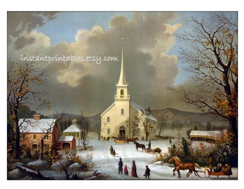 Sale Winter Scene Landscape Vintage Church 8x10 Art Print