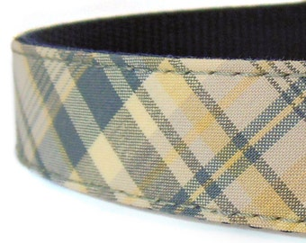 Slate Blue and Yellow Dog Collar - Plaid Dog Collar - Boy Dog Collar - Girl Dog Collar