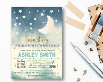 moon and stars baby shower Invitation, loved to the moon shower invitation, stars baby boy shower invitation, Baby Boy Invite, gold, MO, GO