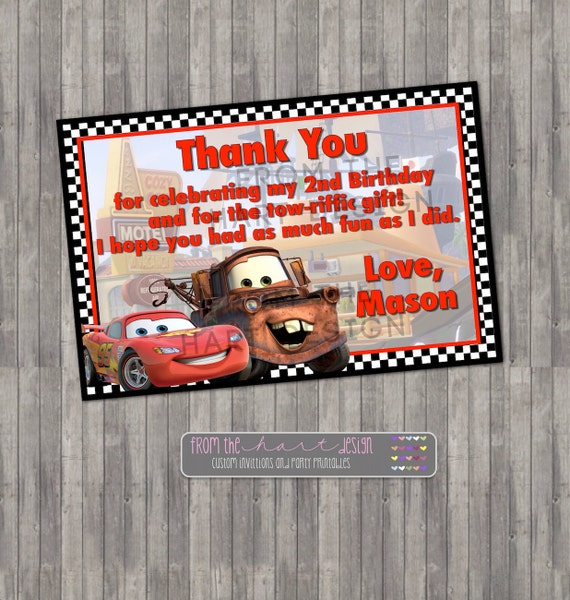 Cars Invitation Card Template Free: Disney Cars Birthday Thank You Card Digital Printable