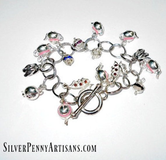 Handmade Silver and Pink Teapot Charm Bracelet  Symbolic Jewelry