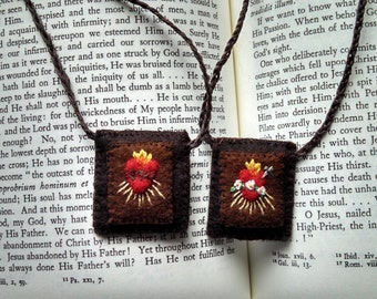 Brown Scapular with hand embroidery motif, Sacred and Immaculate Hearts, 100% Wool with cotton embroidery, MADE TO ORDER