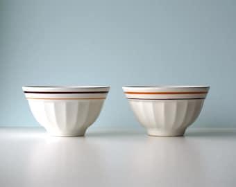 2 Italian breakfast bowls vintage, caffelatte bowls, white ceramic kitchen decoration