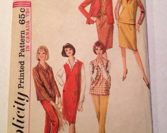 1964 Simplicity Pattern # 5574 Dress, Pants and Top, Misses Size 12, Uncut!