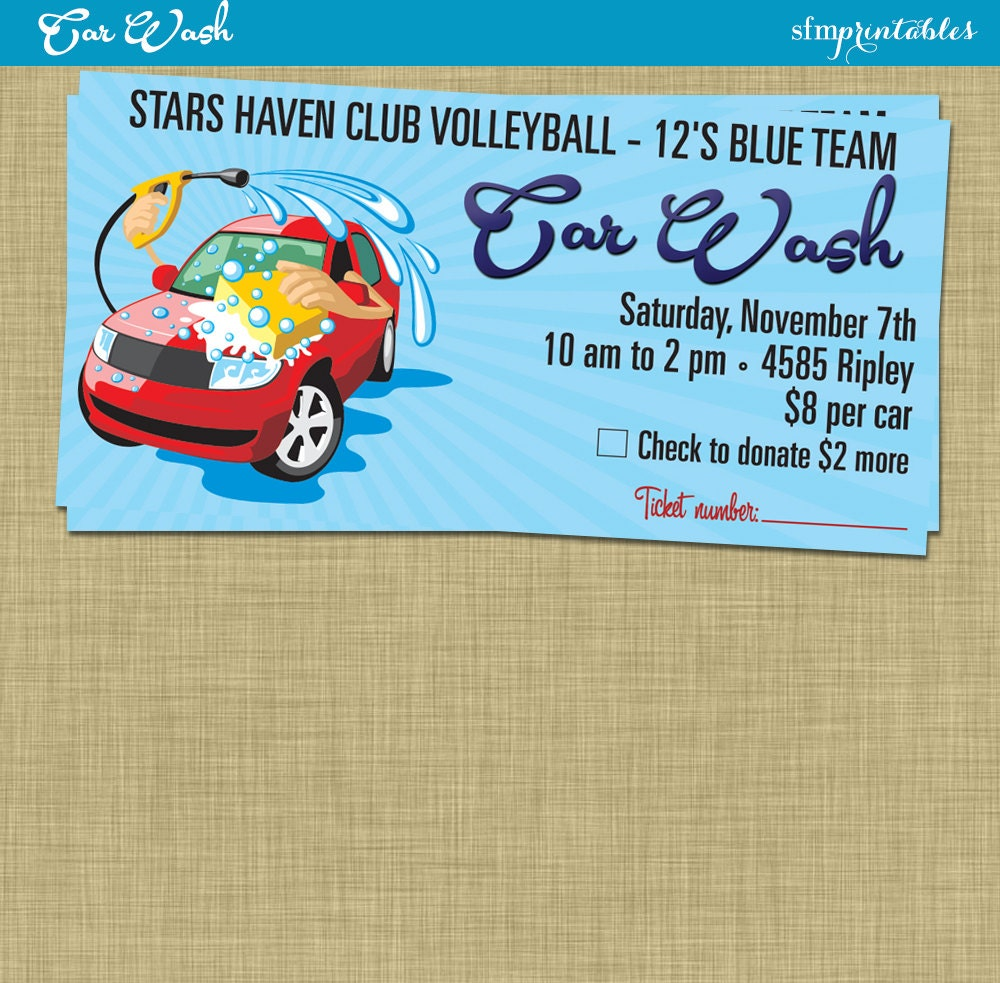 Car wash flyer fundraiser church school community sports for Free car wash ticket template