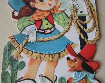 Vintage Unused Rodeo Cowgirl Pony Tail Jane Birthday Card