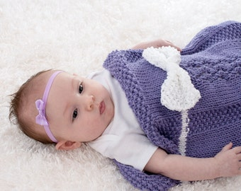 Cotton Baby Blanket, Baby Girl Cocoon, Hand Knit, Purple with White Bow, Lace Knit, 100% Cotton - 213