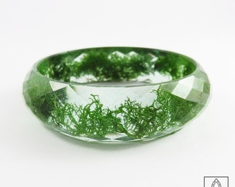 Moss Faceted Resin Bracelet