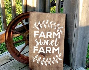 Farm Sweet Farm - Farmer Sign - Rustic Farmhouse Sign - Wooden Farm House Sign - Wood Sign - Kitchen Wall Decor - Country Home Decor