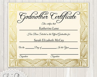 GODMOTHER CERTIFICATE - Official Godfmother Certificate - 8 x 10 or other size - High Quality 300 dpi Custom