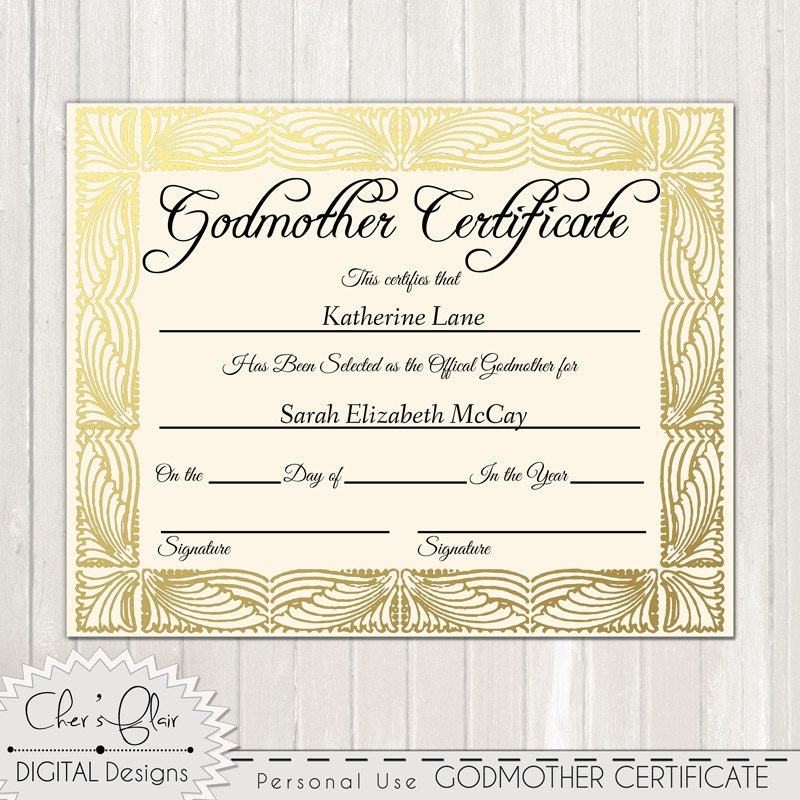 Godmother Certificate Official Godfmother Certificate 8 X