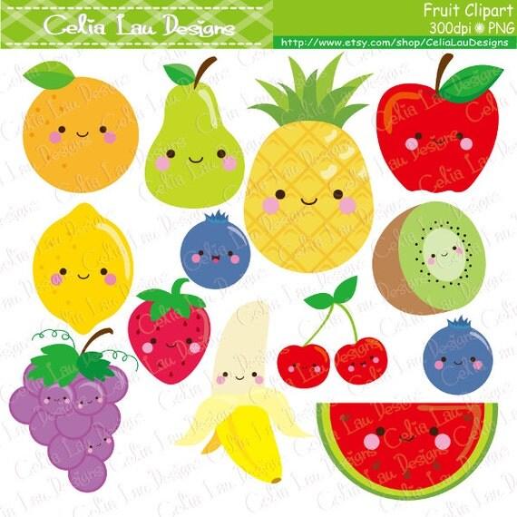 Kawaii Fruit Clipart Cute Clip Art Food