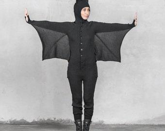 BAT ONESIE Halloween Costume for Men and Women - Blamo Animal Kigurumi - Black Bat - Unique Pajamas One Piece Suit - Gift for Vampire