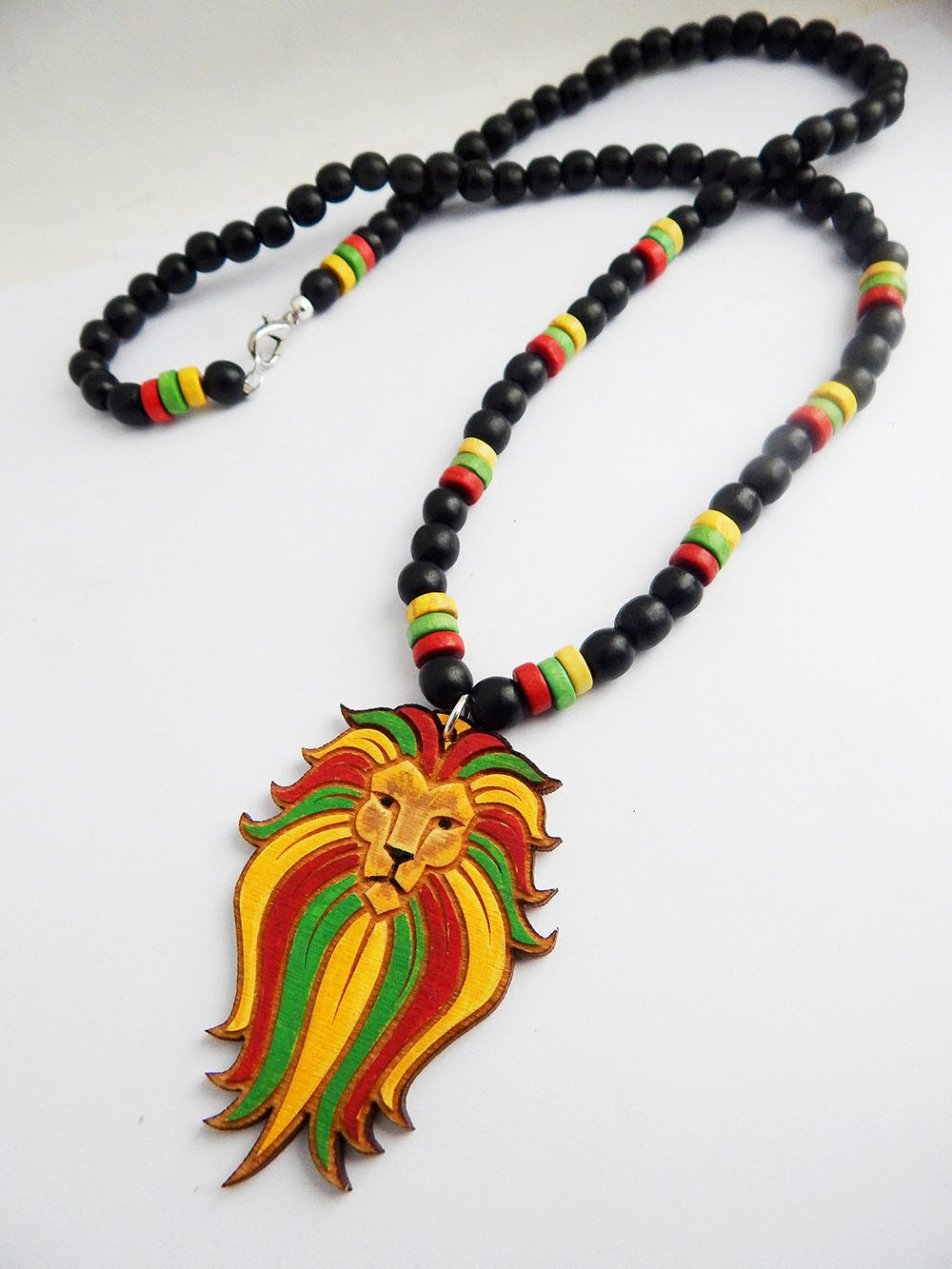 rasta mens necklace jewelry painted