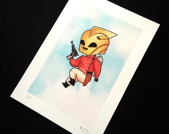 Rocketeer Watercolor Painting Print by Michelle Coffee
