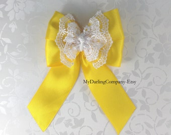 Yellow Wedding Yellow Flower Girl Yellow Bridesmaid Daffodil Yellow Toddler Dress Prom Yellow Quinceanera Bow Yellow Girls Dress Outfit