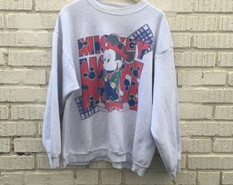 90s Mikey Mouse Sweatshirt. 1990s White Pullover Sweatshirt. Plaid. XL.