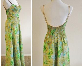 FREE Shipping Vintage 60's 70's Green Floral Pool Maxi Dress Hawaiian Gown DE WEESE Design Built in Bullet Bra Swim & Sun California