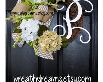 Antique White Hydrangea Wreath. Burlap Wreath. Year Round Wreath. Spring Wreath. Summer Wreath. Monogram Wreath. Door Wreath