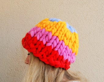 SALE Very thick and cozy, soft hat, multicolour acrylic, warm accessories, autumn, winter, Christmas gift