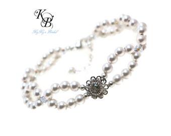Pearl Bridal Bracelet, Vintage Style Bracelet, Double Strand Pearl Bracelet, Wedding Jewelry, Pearl Bridal Jewelry, Pearl and Crystal