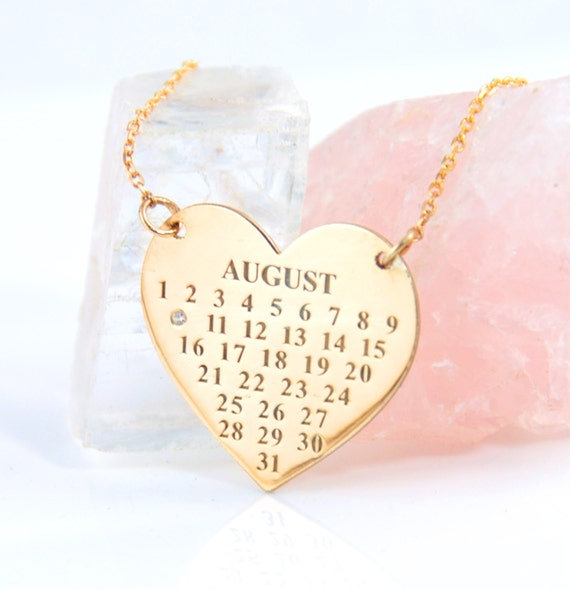 gold calendar necklace sterling by