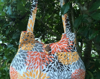 Decorative Floral Fabric Handbag