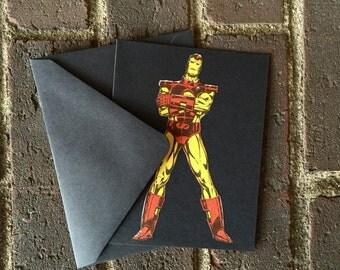 Vintage Iron Man Greeting Card (Blank)