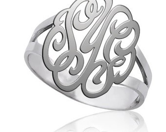 Silver Monogram ring-Personalized Monogram ring-any intial ring