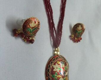 Red beaded & meenakri  work necklace set for women